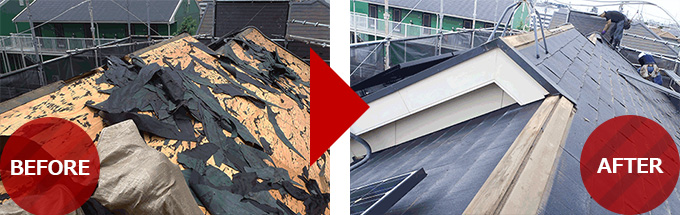 千葉県柏市の屋根葺き替え工事の施工事例