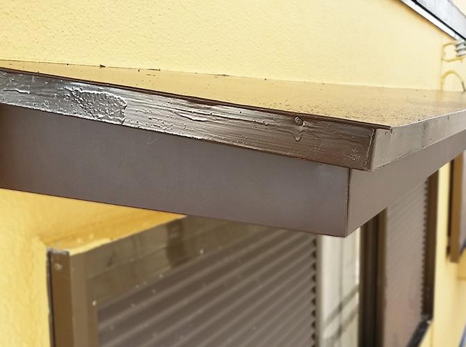 破風の板金補修工事完了後