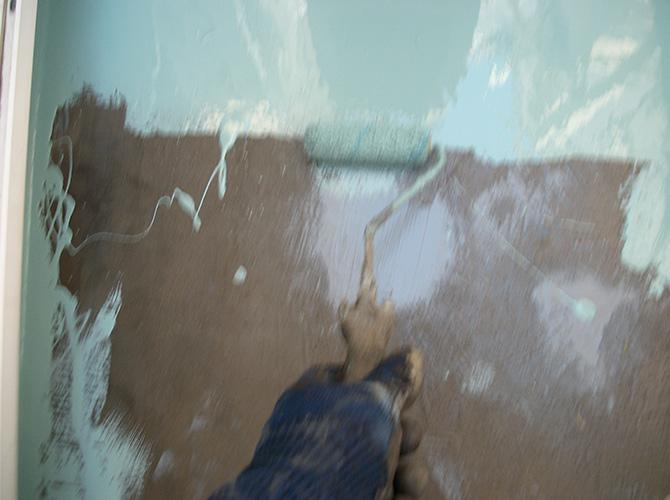 ベランダ床部分のウレタン防水材の塗布