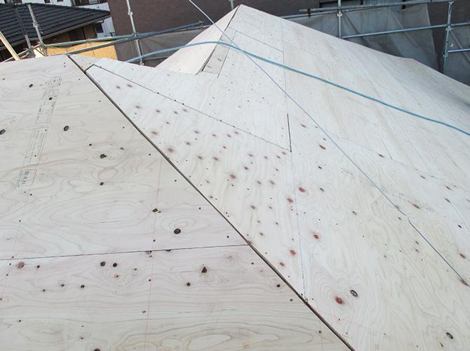 野地板の設置完了後