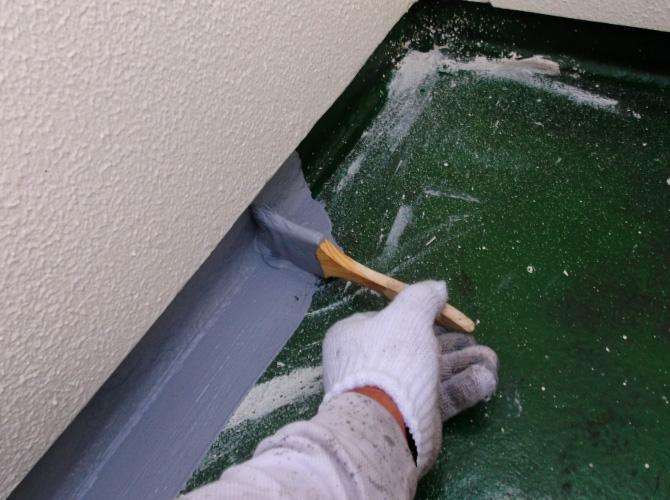 立上り部分の防水材塗布