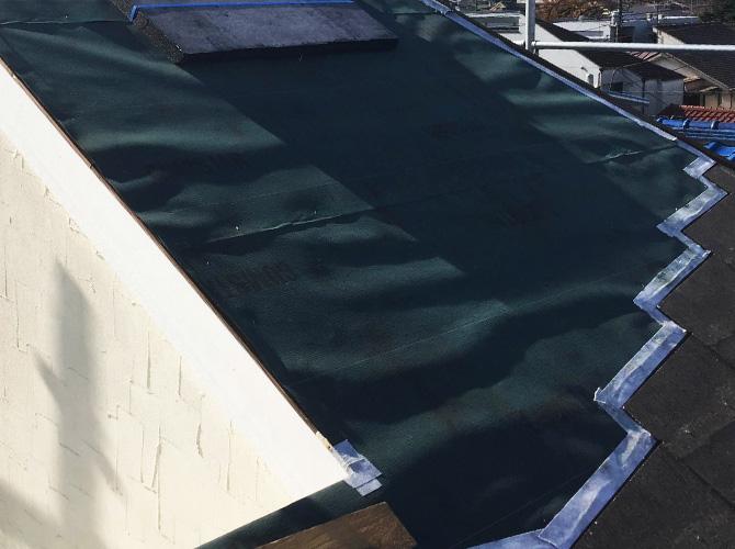屋根の防水シートの設置後