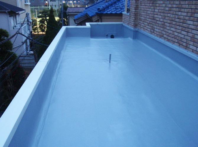 ルーフバルコニーの防水工事施工完了後