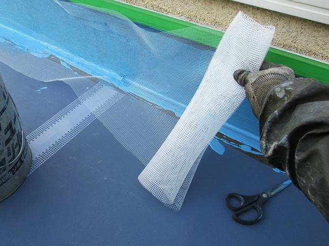 立上り部分の防水材の塗布