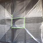 屋根塗装工事・外壁塗装工事の窓養生