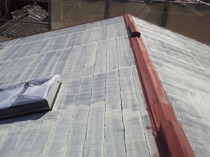 屋根板金部分の鉄部塗装完了後