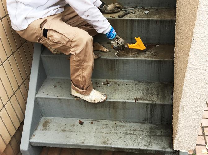 階段の下地処理