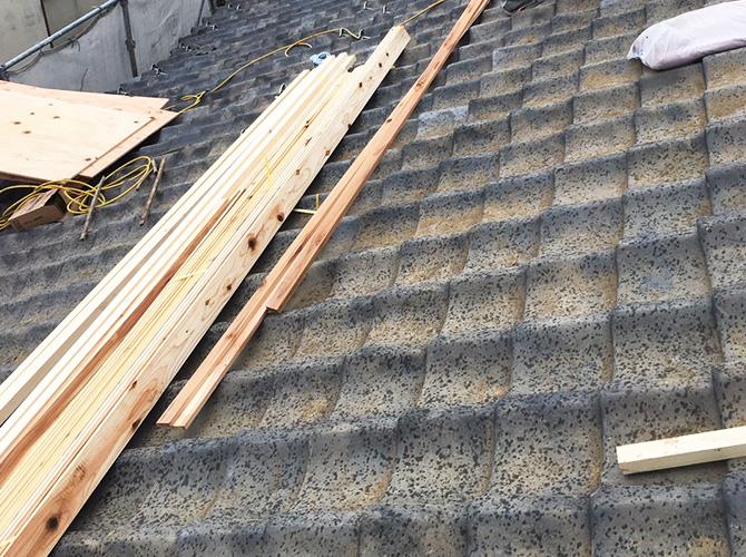 屋根葺き替え工事の施工前