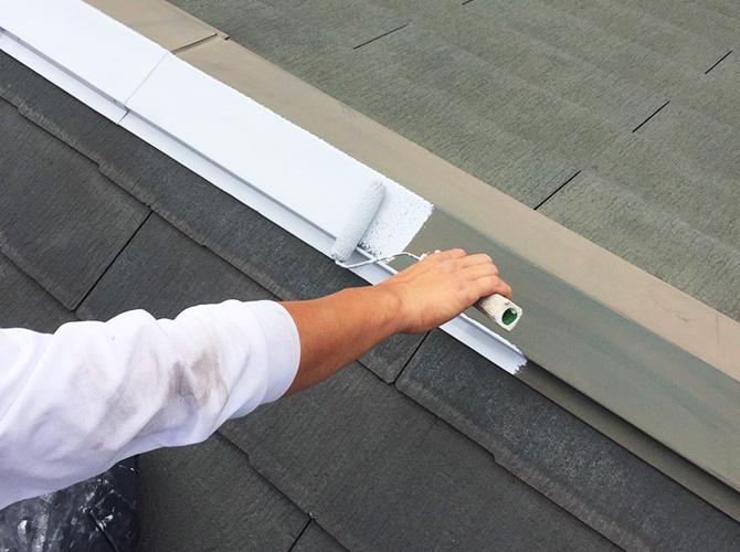 棟板金のサビ止め塗装