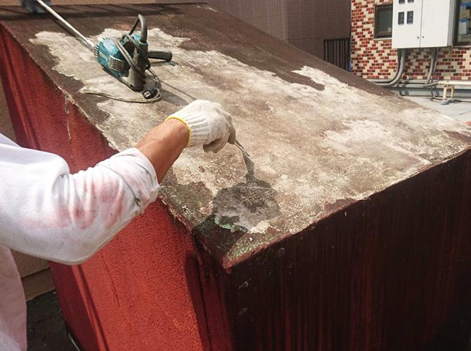 屋上設備のケレン清掃