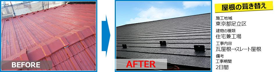 東京都足立区工場の屋根の葺き替えリフォーム