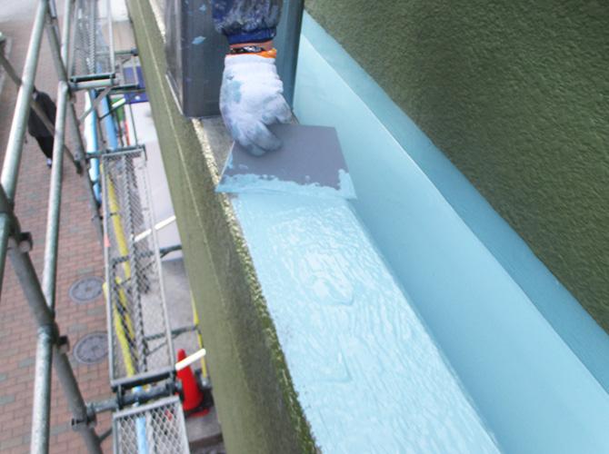 笠木のウレタン防水材塗布