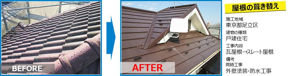 足立区戸建住宅の屋根葺き替え工事