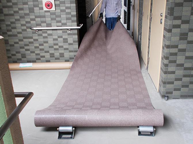 長尺シートの設置準備