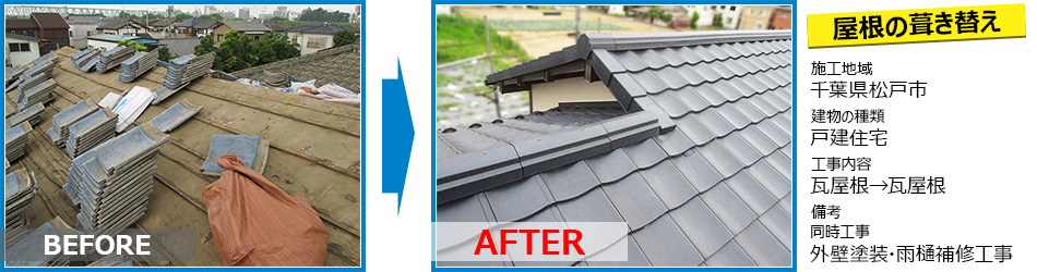 松戸市戸建住宅の葺き替え工事で台風対策リフォーム