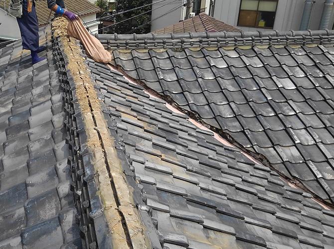 台風対策の瓦屋根の撤去