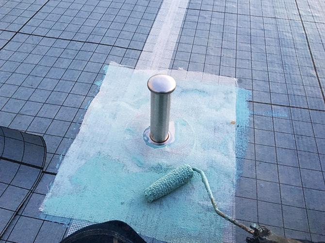 脱気筒まわりのウレタン防水