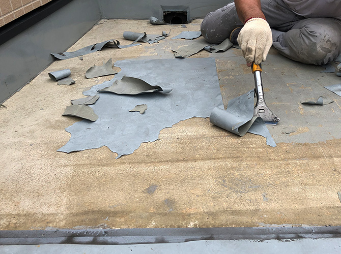 屋上防水の下地調整