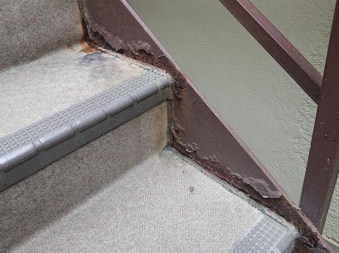 鉄骨階段の劣化状況