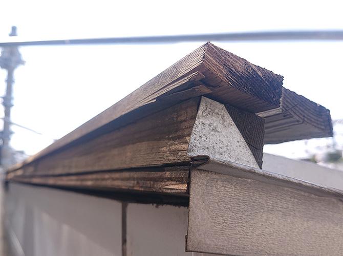 棟板金下地の木材の状況