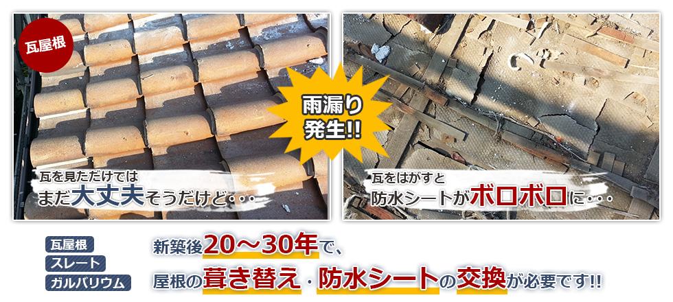 屋根の葺き替えは20~30年がタイミングです!
