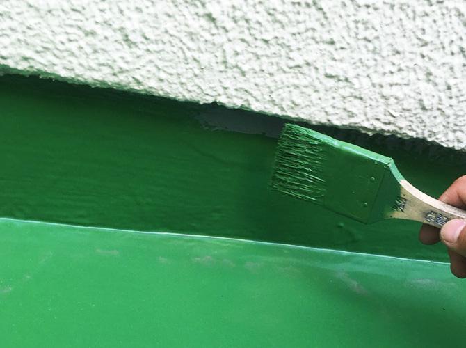 立上り部分のトップコート塗布