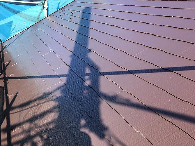 台風対策の屋根塗装の上塗り完了後