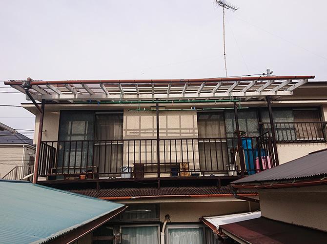 ベランダ屋根交換工事の施工前