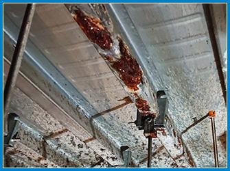 天井裏で雨漏りが起きている状況