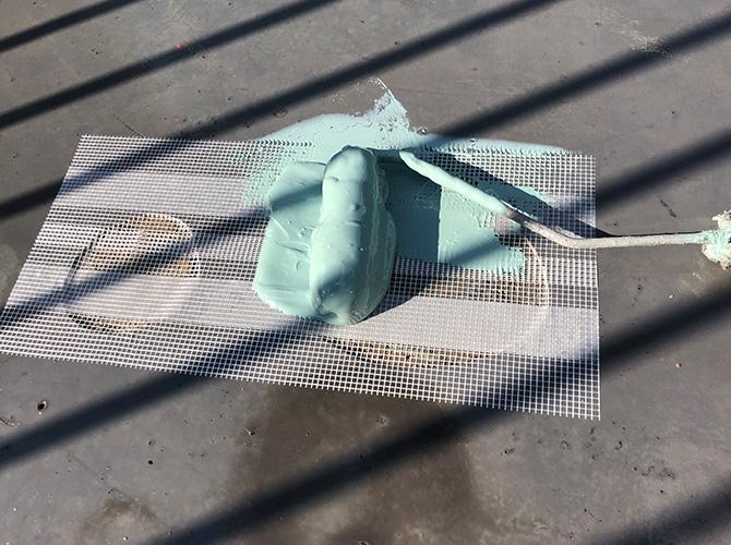 補修箇所のウレタン防水材塗布