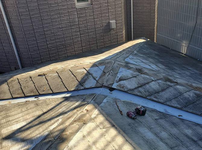棟板金と貫板の撤去後